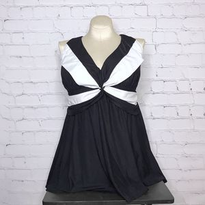 Robby Len Black and White Twist Front Swim Dress